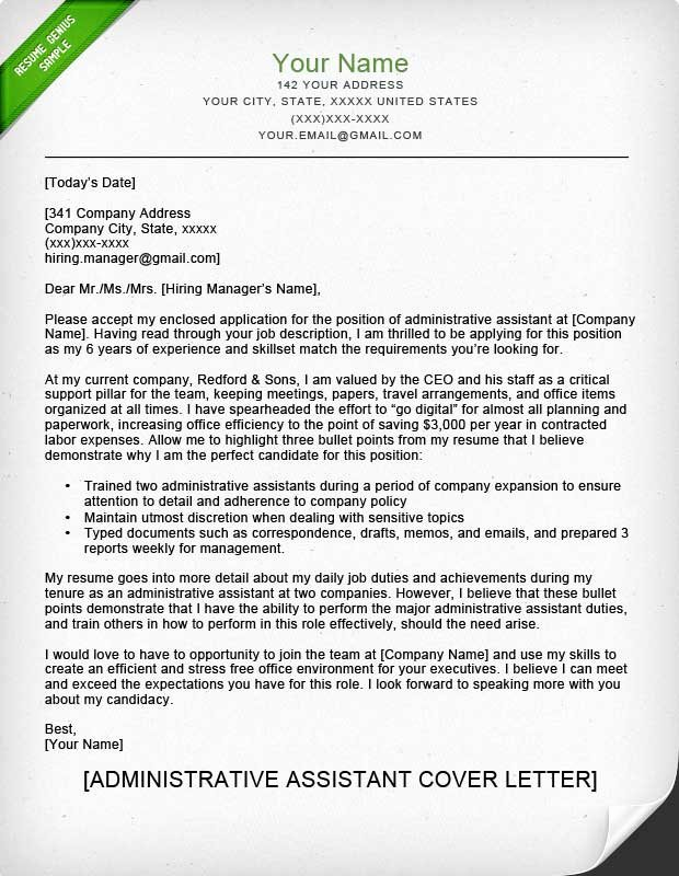 Administrative assistant Cover Letter Template Best Of Administrative assistant & Executive assistant Cover
