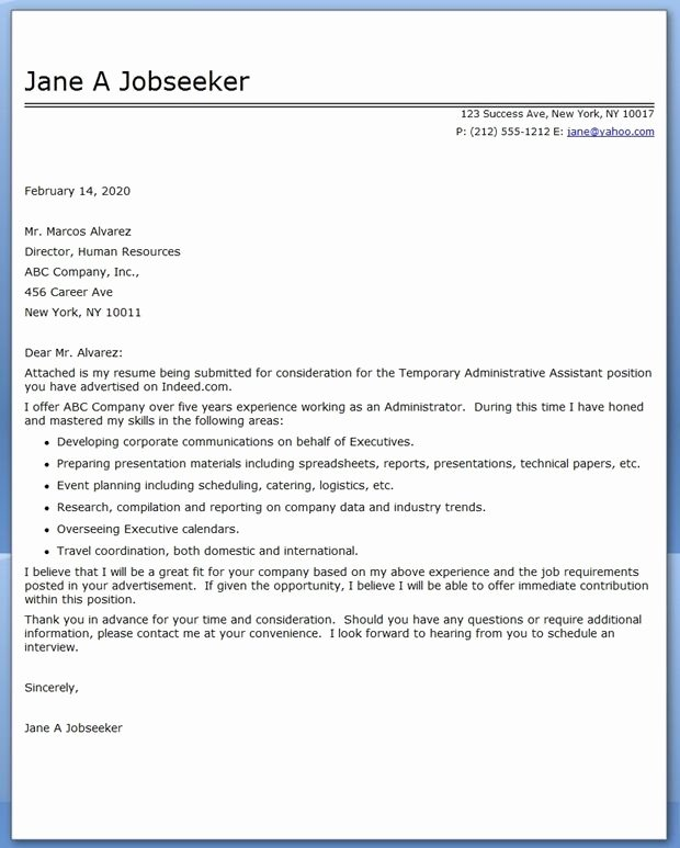 Administrative assistant Cover Letter Template Fresh Administrative assistant Cover Letter Temp