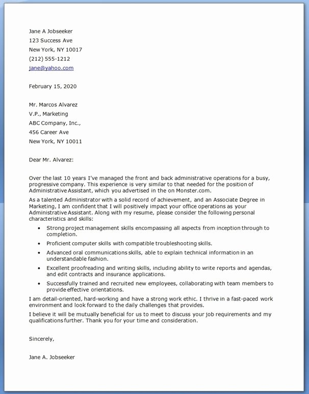 Administrative assistant Cover Letter Template Inspirational Pin by Sample Cover Letters On Cover Letter Samples