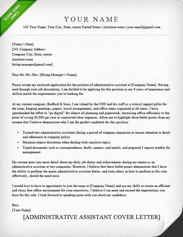Administrative assistant Cover Letter Template Lovely Cover Letter Examples