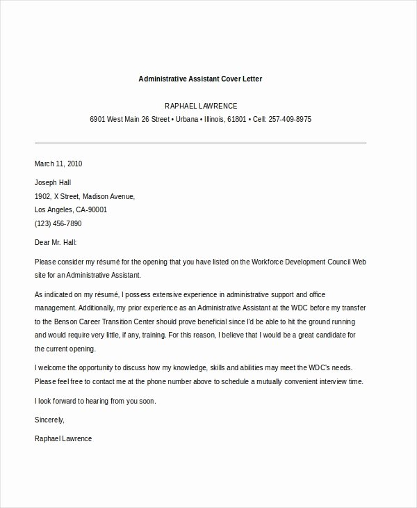 Administrative assistant Cover Letter Template New Free 7 Sample Administrative assistant Cover Letter