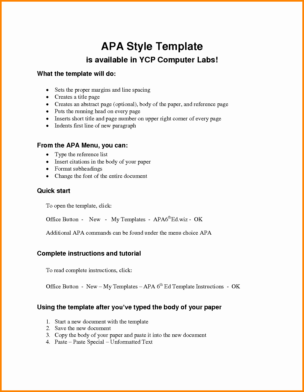 Apa Outline Template Microsoft Word Best Of 6 Apa Outline Template