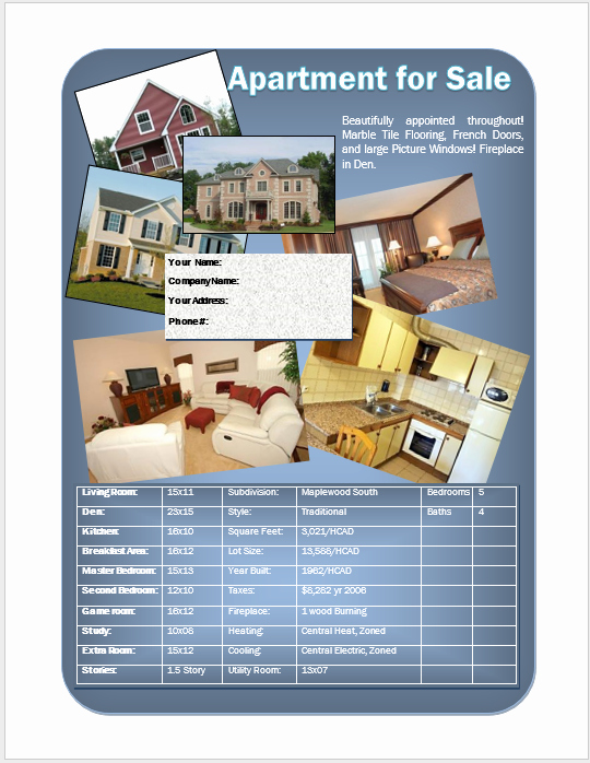 Apartment Flyers Free Templates New for Sale Flyer – Word Template – Word Templates for Free