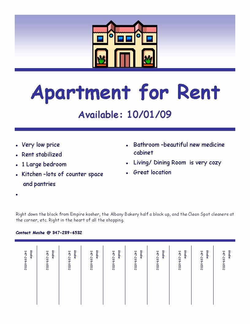 """Apartment for Rent Flyer Template Beautiful """"fulfilling Your Creative Needs"""""""