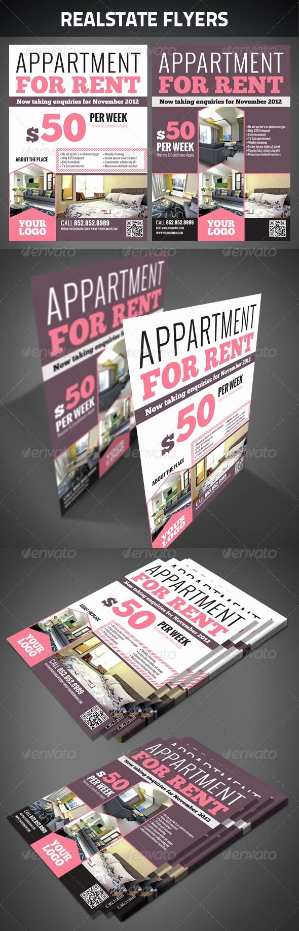 Apartment for Rent Flyer Template New Realestate Flyers Graphicriver Realestate Flyers Zip File