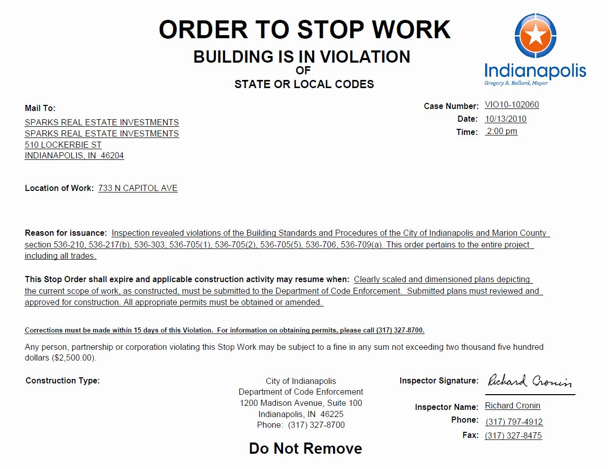 Apartment Work order Template Best Of Stop Work order Posted at the Di Rimini