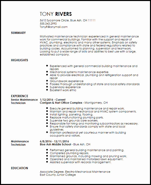 Apartment Work order Template Inspirational Free Traditional Maintenance Technician Resume Template