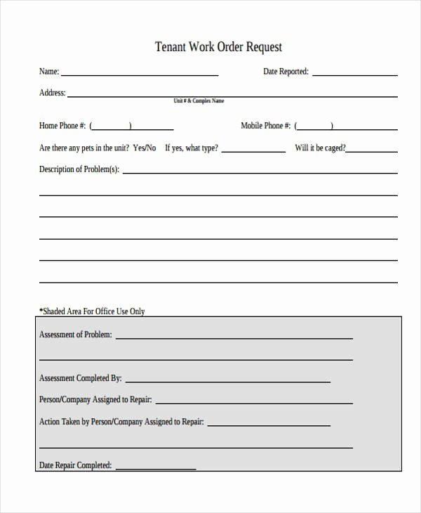 Apartment Work order Template Unique Free 22 Work order form In Templates Pdf