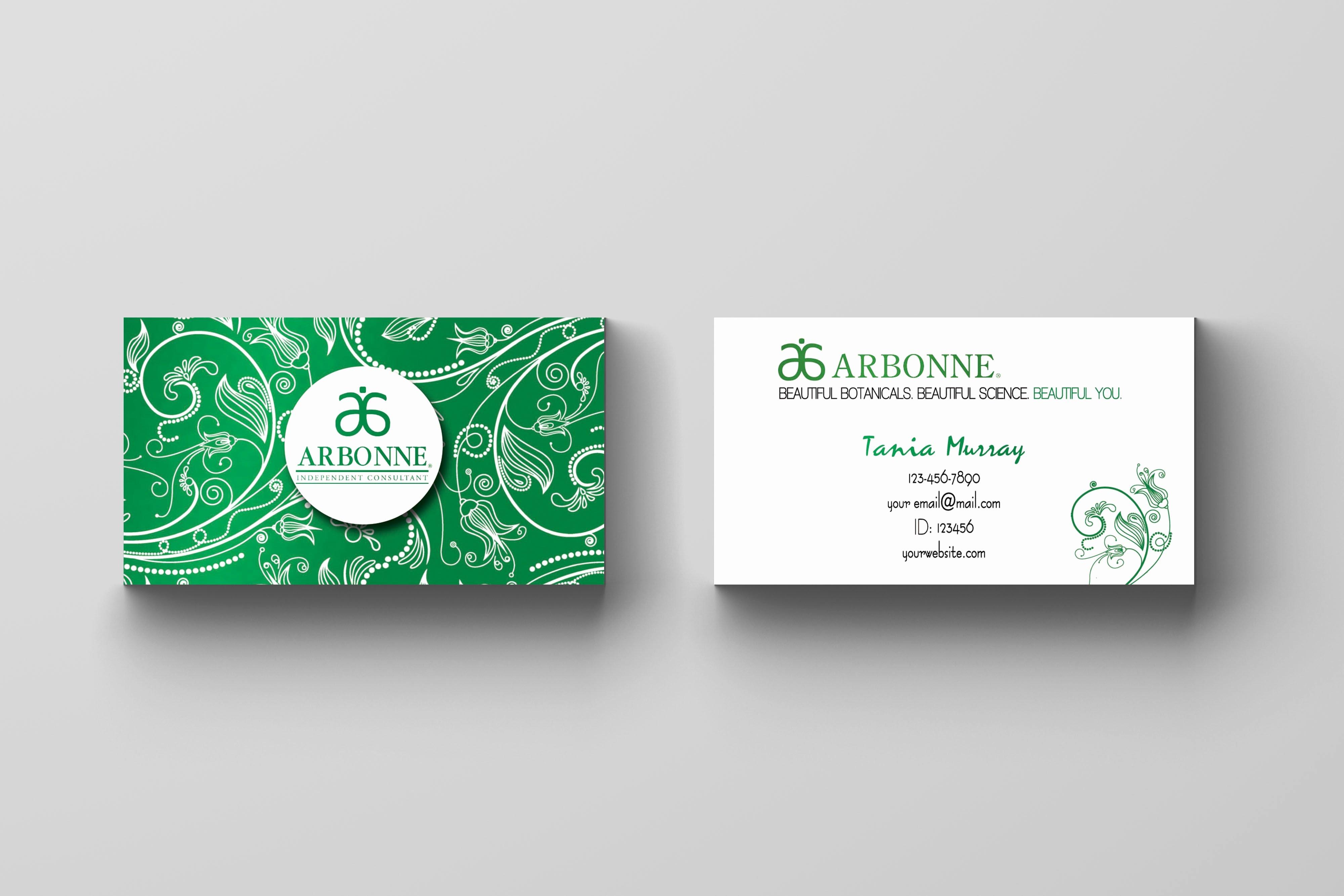 Arbonne Business Cards Template Elegant Arbonne Business Card Floral Green