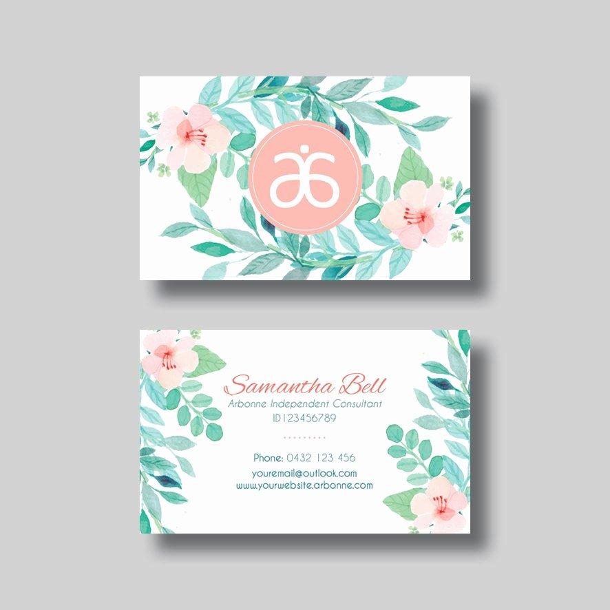 Arbonne Business Cards Template Fresh Arbonne Business Card Floral 1 0 Digital Design