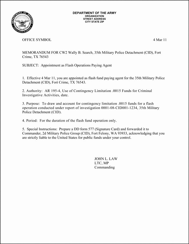 Army Memorandum for Record Template Best Of Army Memorandum Template