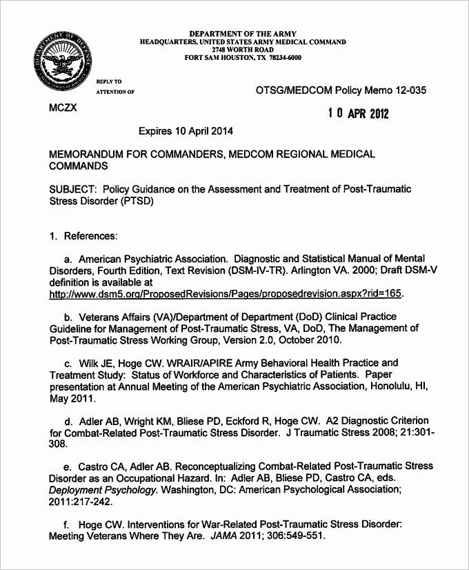 Army Memorandum for Record Template Best Of Sample Army Memo Template 8 Pdf Word Google Docs