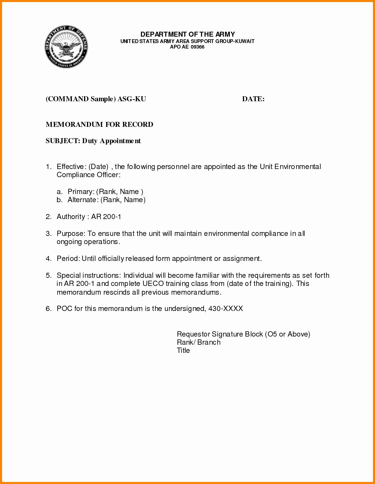 Army Memorandum for Record Template Elegant 6 Memorandum for Record Army