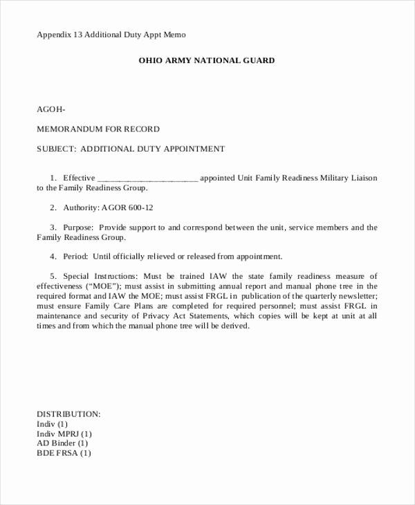 Army Memorandum for Record Template Elegant 8 Army Memorandum Templates Word Google Docs Apple