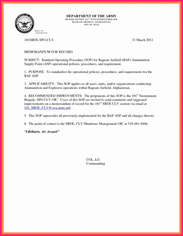 Army Memorandum for Record Template Elegant Army Memorandum for Record Template