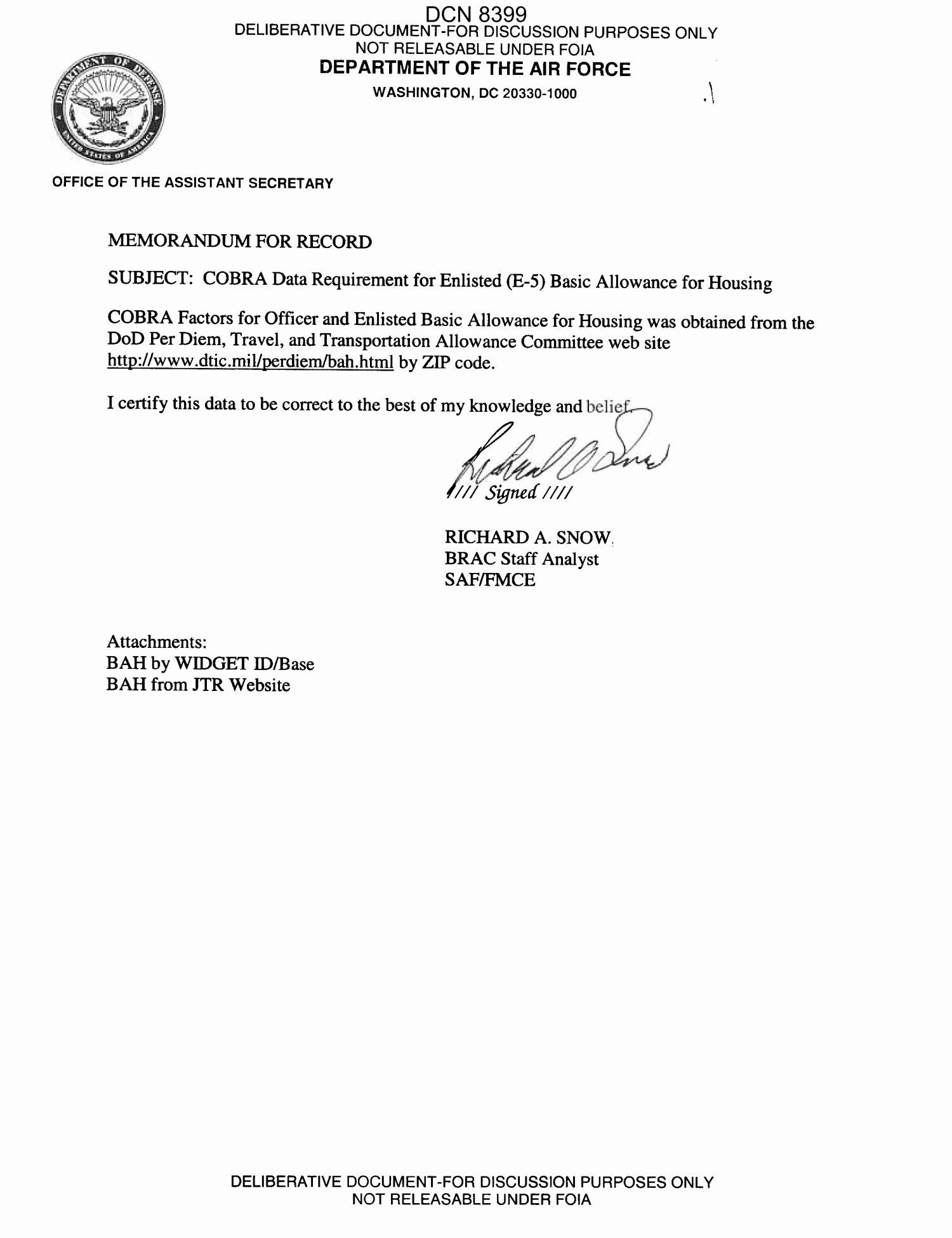 Army Memorandum for Record Template Elegant Memorandum for Record From Richard A Snow Brac Staff