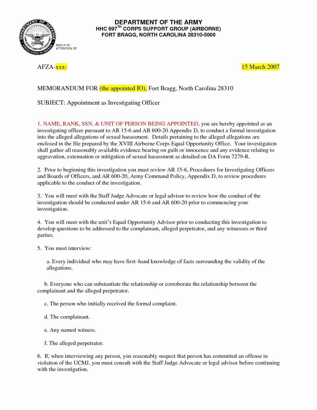 Army Memorandum for Record Template New Army Memorandum Template