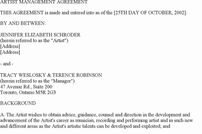 Artist Management Contract Template Beautiful 5 Artist Management Contract Templates Free Download