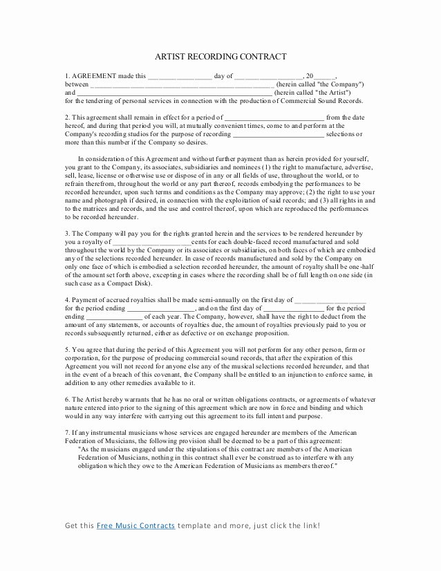 Artist Management Contract Template Beautiful Artist Recording Contract 4