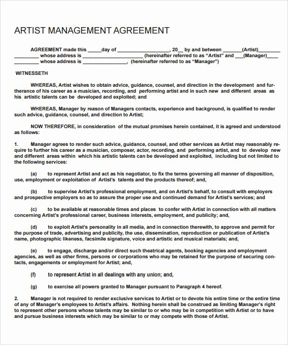 Artist Management Contract Template Best Of 14 Sample Artist Contract Templates Word Docs