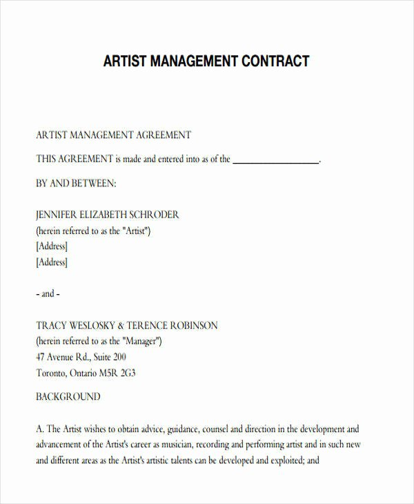 Artist Management Contract Template Elegant 38 Contract Templates In Pdf
