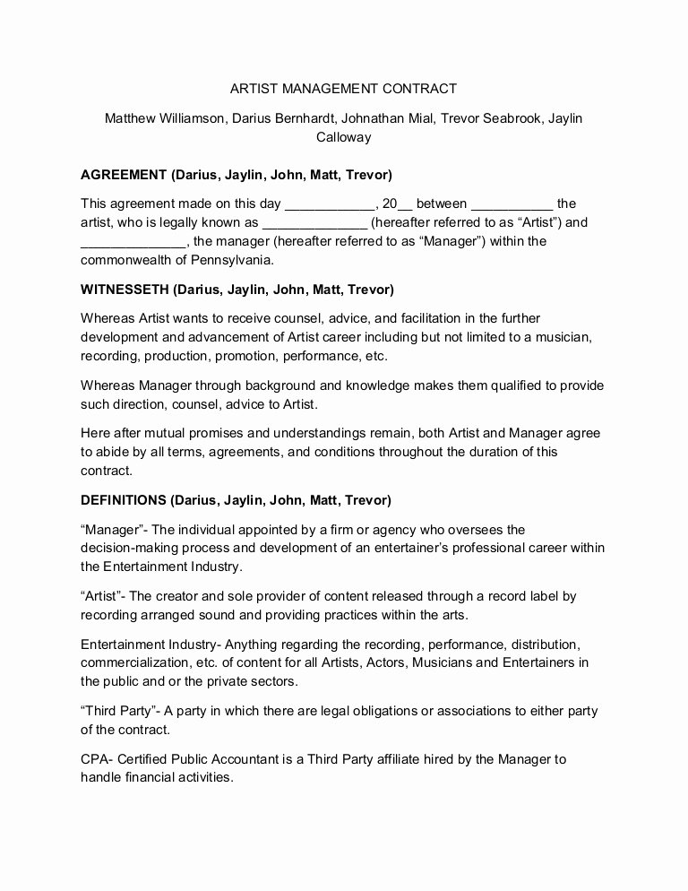 Artist Management Contract Template Fresh Artist Management Contract