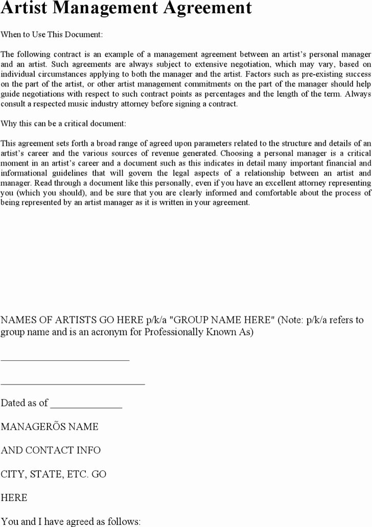 Artist Management Contract Template Fresh Artist Management Contract Templates