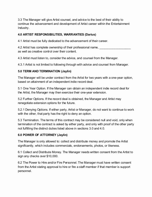 Artist Management Contract Template Inspirational Artist Management Contract