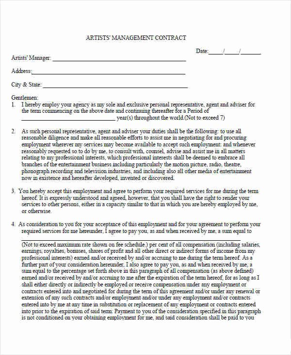 Artist Management Contract Template Lovely 7 Management Contract Template – Sample Example format