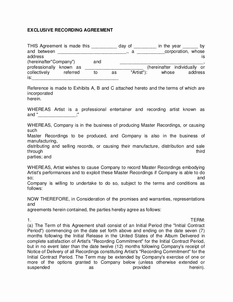Artist Management Contract Template Lovely Artist Recording Contract 3