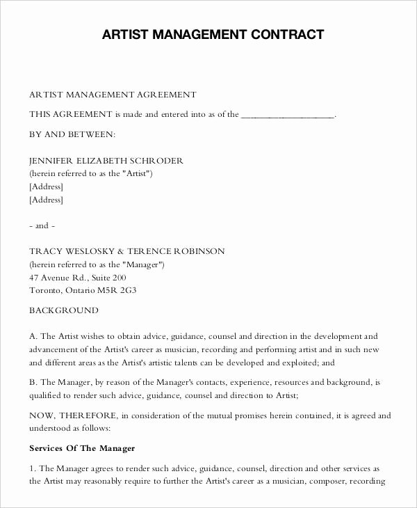 Artist Management Contract Template Luxury 9 Artist Contract Templates Free Sample Example format