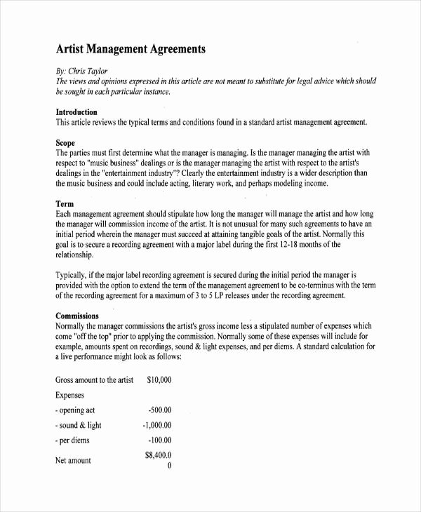 Artist Management Contract Template Pdf Awesome Free 64 Management Agreement Examples & Samples In Pdf