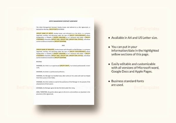Artist Management Contract Template Pdf Beautiful 21 Contract Agreement Templates Word Pdf Pages