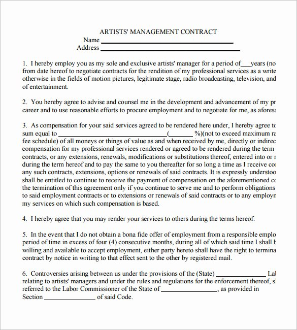Artist Management Contract Template Pdf Best Of 5 Artist Management Contract Templates – Free Pdf Word