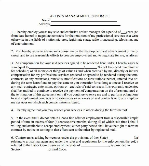 Artist Management Contract Template Pdf Best Of 5 Artist Management Contract Templates – Free Pdf Word