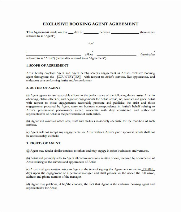 Artist Management Contract Template Pdf Inspirational Booking Agent Contract Template 9 Download Free