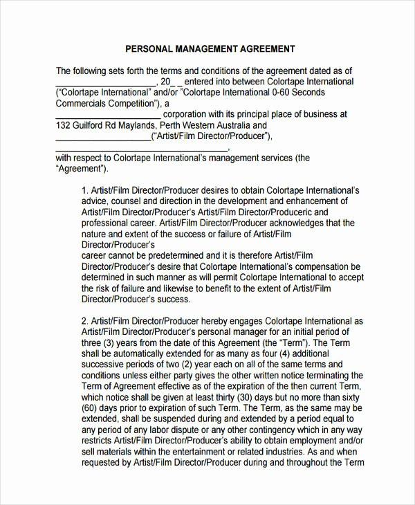 Artist Management Contract Template Pdf Lovely Free 64 Management Agreement Examples & Samples In Pdf