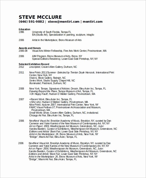 Artist Resume Template Word Awesome Sample Artist Resume 8 Examples In Word Pdf