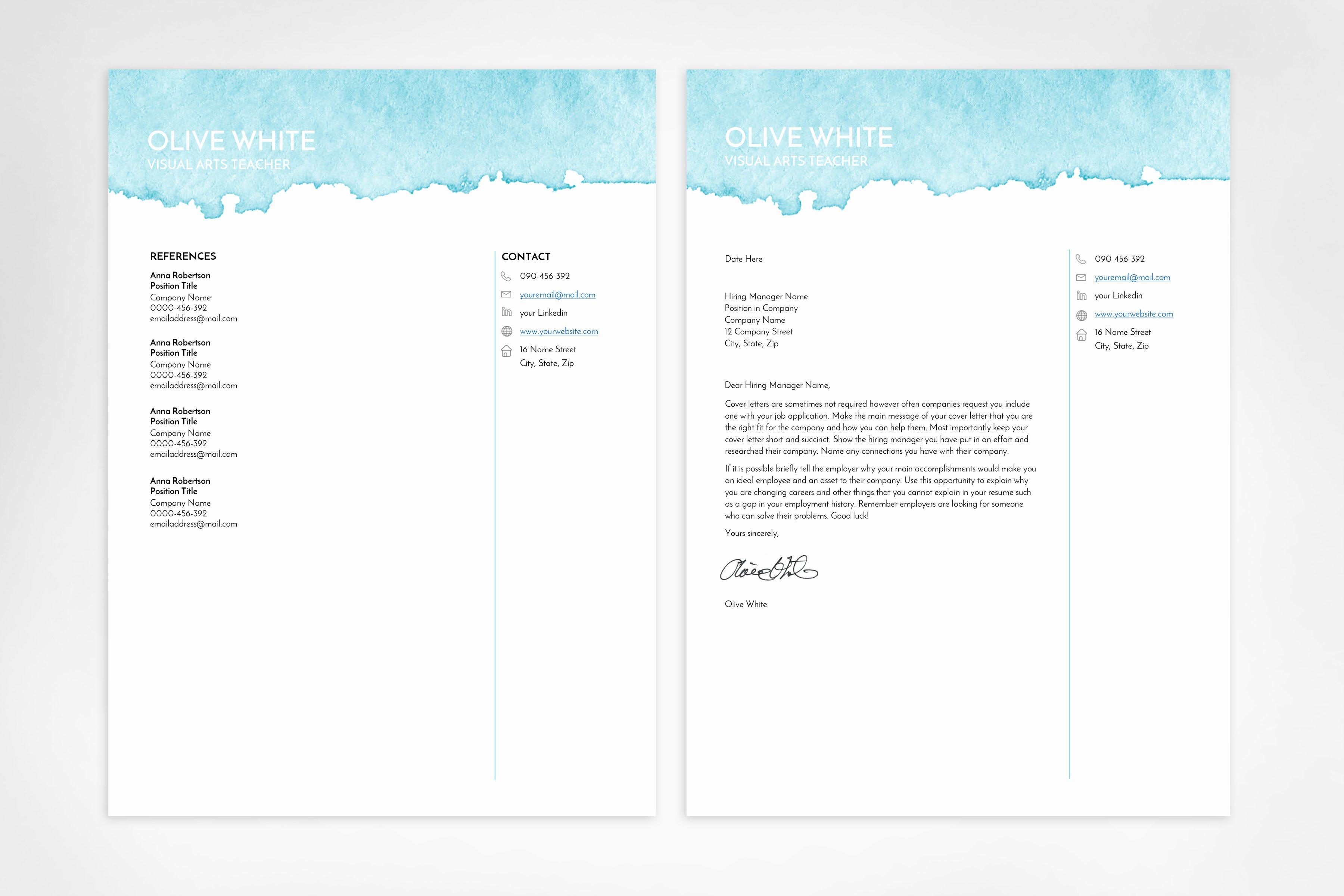 Artist Resume Template Word Elegant Resume Template Word Blue Watercolor