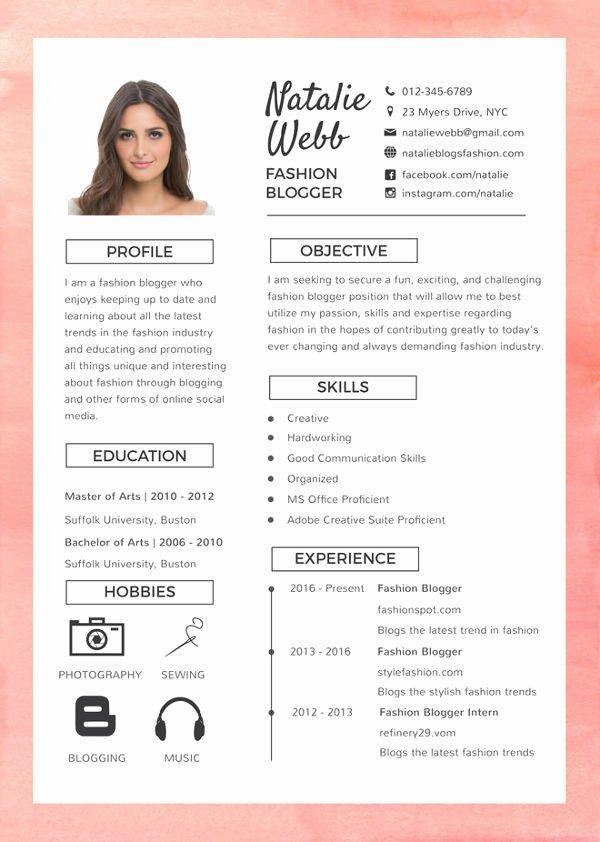 Artist Resume Template Word Inspirational 8 Fashion Designer Resume Templates Doc Excel Pdf