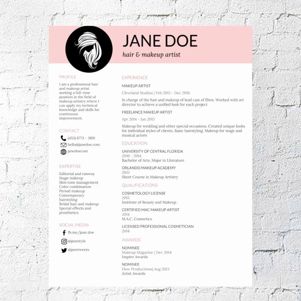 Artist Resume Template Word Inspirational Hair Stylist Makeup Artist Resume Template Google Document