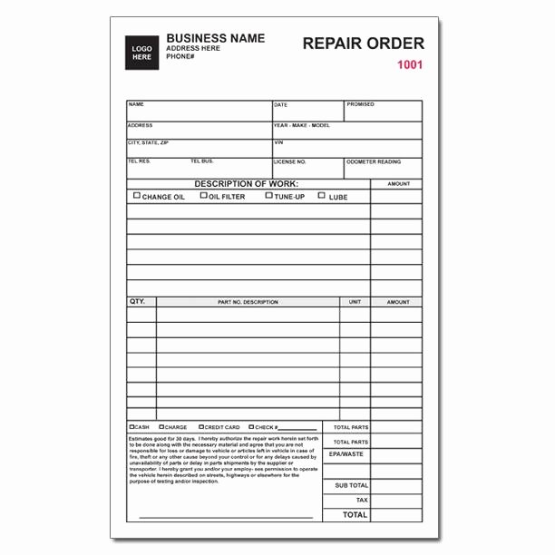 Auto Repair Bill Template Awesome Auto Repair order Custom form