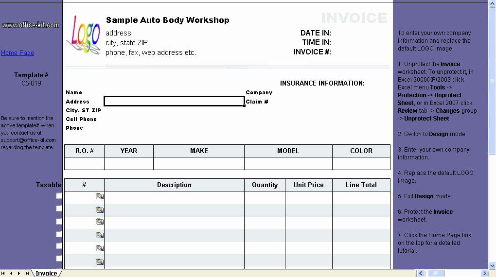 Auto Repair Bill Template Fresh Auto Repair Invoice Template 1 10 Free Download