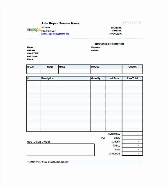 Auto Repair Bill Template Fresh Auto Repair Invoice Template