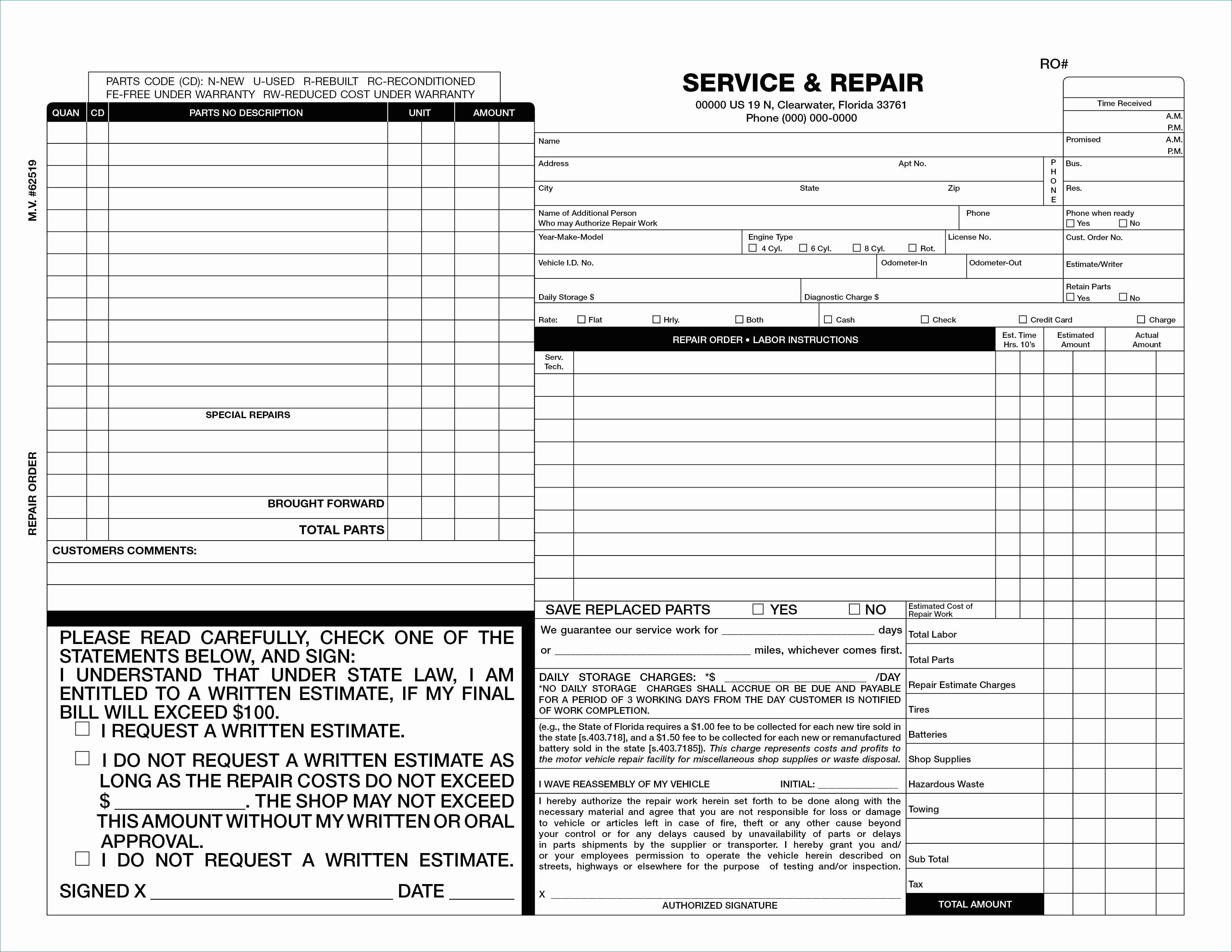 Auto Repair Estimate Template Awesome Practical Auto Body Repair Estimate forms Free
