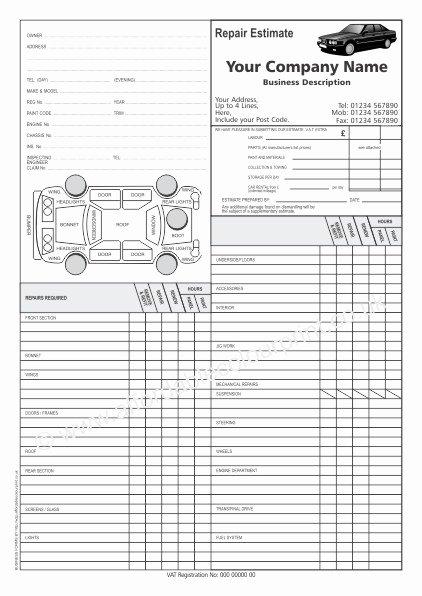 car repair estimate forms