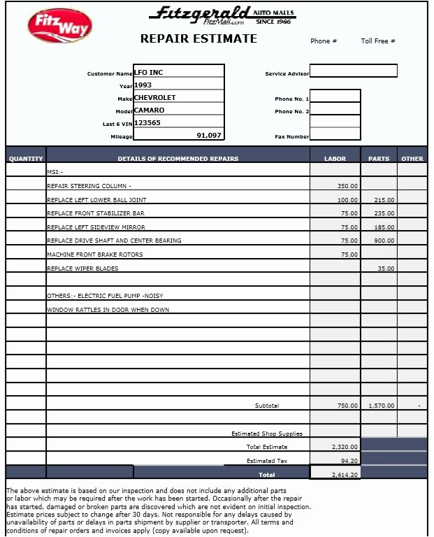 Auto Repair Estimate Template Best Of 9 Free Sample Auto Repair Quotation Templates Printable