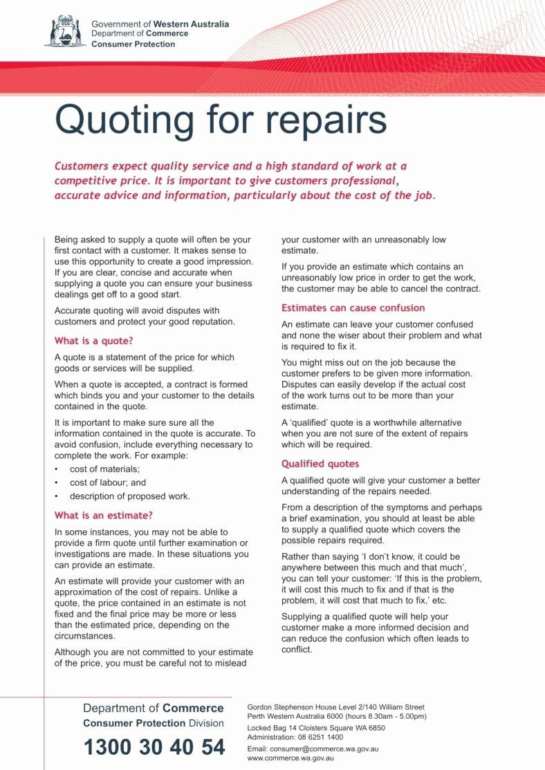 Auto Repair Estimate Template Unique 6 Auto Repair Estimate Templates Pdf Word Docs
