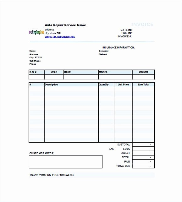 Auto Repair Invoice Template Free Awesome Auto Repair Invoice Template