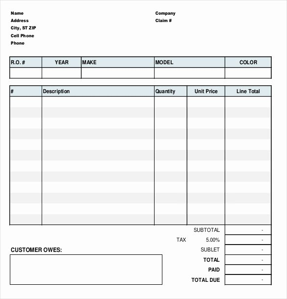 Auto Repair Invoice Template Free Elegant 13 Repair order Templates Google Docs Word